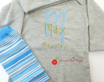 Personalized Coming Home Oufit, Take  Home From Hospital Outfit,  Layette Gown, or one piece and Hat Set, Boys Coming Home outfit
