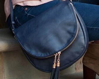 Navy Blue Sienna Tassel Handbag Purse in Vegan Leather - Available Monogrammed - Crossbody Bag