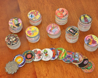 Vintage Collectable Pogs Game Caps And Slammers ( Also know as the milk cap game)