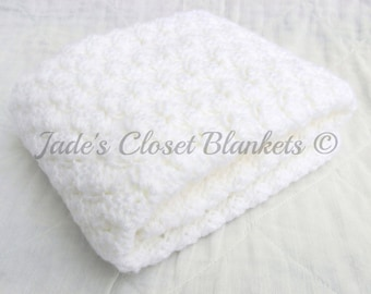 Crochet Baby Blanket, White Baby Blanket, Cloud White, Christening Blanket, travel pram stroller size