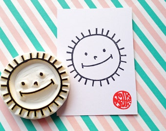 smiley sun rubber stamp | weather stamp | baby shower birthday card making | diy summer gift | hand carved by talktothesun
