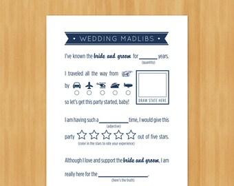 Printable Wedding MadLibs Game, DIY, Instant Download, Printable PDF, Navy Blue