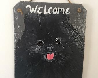 Black Pomeranian Dog Welcome Slate