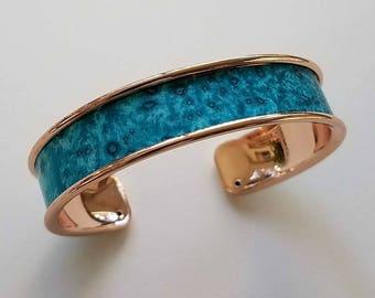 copper toned cuff bracelet, turquoise paper insert, cuff bracelet, .5 inch width