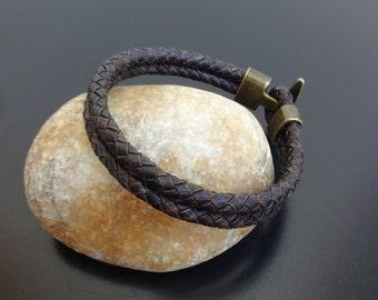 mens leather bracelet, braided leather bracelet, hook clasp leather bracelet wristband, double wrap leather bracelet, bolo leather bracelet