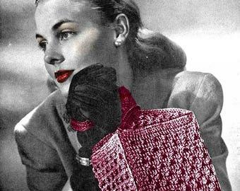 Pattern For Crochet Handbag Vintage 1940's Crochet Pattern - Loveletter Bag - PDF Download
