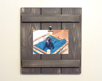 Picture Frame - Picture Holder - 4x6 Landscape Photo Holder - Distressed Espresso Finish - Ready To Hang