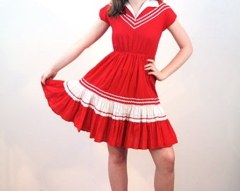 Saqui, 1950s Square Dance Dress, Red Patio Dress S XS, Western Rodeo Dress, 50s Squaw Dress, Vintage Fiesta Dress, Cute Cotton 50s Dress