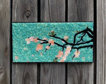 Cherry blossoms mosaic,  stained glass mosaic wall art