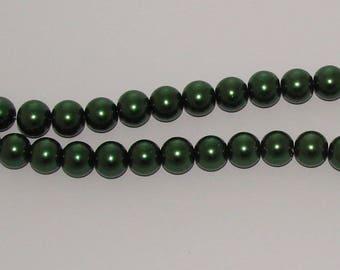20 diameter 12mm dark green Pearl glass beads
