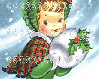 Digital download vintage Christmas card, Christmas tree, girl, muff, plaid cape, holly