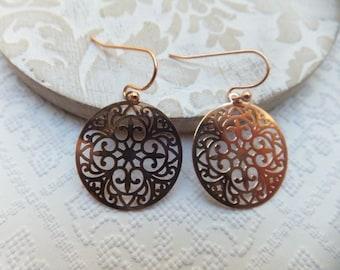 Rose Gold Lasercut Filigree 20mm Pendants hung from nickel free Rose Gold Earrings