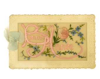 Antique French Embroidered Flower Greeting Card. Bonne Annee Card with Pink Embroidery. Romantic Scrapbooking Gifts for Her.
