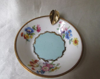 1930s Vintage Limoges Hand Decorated Porcelain Ashtray. Floral Motif, Gilt Brass Trim. Collectible, Housewarming Gift, Hostess Gift