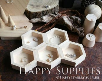 1pc Natural Wood Hexagon Ring Earring Necklace Bracelet Storage Box Display Holder/Bracket, Display Cabinets, Jewelry Supplies (DH011)