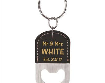 Wedding Favors-Bottle Opener Key chains-Wedding Thank you Gift to Guests on Our Wedding Day- Newly Wed Couple Key chain Gift-Anniversary