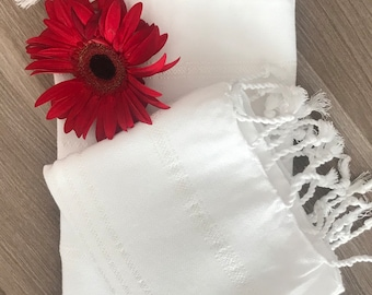 Set of 2 Turkish Hand Towel, Head Towel (Peshkir), Tea Towel, Baby towel, Wedding gift, Mother days gift,  kitchen towel, garden towel White