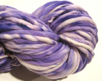 Super Bulky Handspun Yarn Snow Crocus 108 yards hand dyed merino wool purple white yarn waldorf doll hair knitting supplies crochet supplies