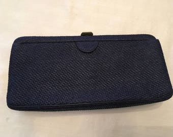 MM (Morris Moskowitz) Navy Woven Clutch