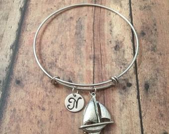 Sailboat initial bangle- sailboat jewelry, nautical jewelry, sailing bangle, nautical bracelet, sail boat bracelet, sailing jewelry