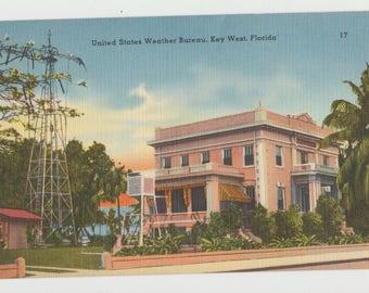 Linen Postcard, Key West, Florida, U.S. Weather Bureau, ca 1940