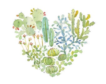 Watercolor cactus heart poster, Love heart, Cactus succulent, Cute cactus, Cactus decor, Cactus lover, Heart, Cactus art, Cute illustration