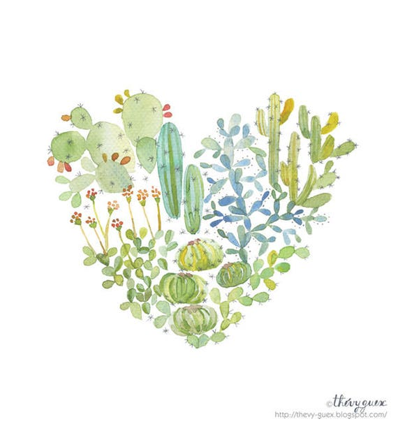 Image result for watercolor cactus heart