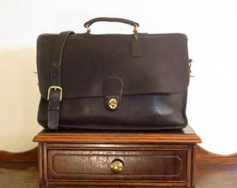 Dads Grads Sale Coach Spencer Brief In Black Leather With Brass Hardware Style No. 5278- Made In United States- VGC Rare Style