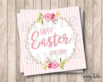 Personalized Printable Easter Tags, Printable Happy Easter Tags, Watercolor Easter Tags, DIY Easter Tags, Watercolor Floral Tags