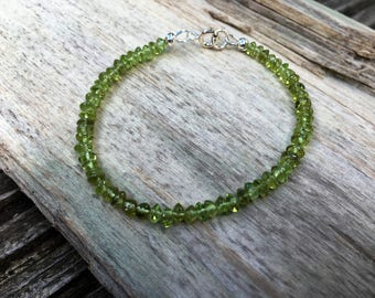 Peridot Sterling Silver Layering Stacking Friendship Bracelet Birthstone Jewellery Green Peridot Jewellery