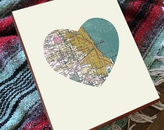 Chicago Map - Chicago Map Heart - Chicago Map Heart Print - Chicago Map Art - Chicago Heart