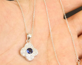 Solid sterling  silver sapphire necklace pendant