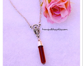 Rosary Necklace , Blood Necklace, Bottle Choker,  Vampire Realist Blood Vial, Gothic By: Tranquilityy, Von'Dez Redman
