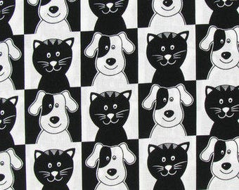 Smiley Pets Cats and Dogs by Cotton Calico fabric