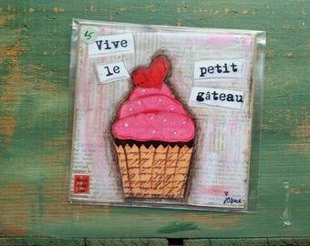 "SALE! Cupcake Print, 5""x5"" Cake Print, Whimsical Cupcake, Cupcake Art, Sale Whimsical Print, pink, red, french cupcake ""Long Live Cupcake"""