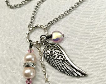 Silver Wing and Pink Pearl Survivor Necklace - Breast Cancer Awareness Jewelry