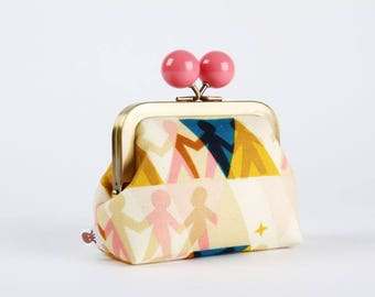 Metal frame coin purse with color bobble - Paper peolpe sunshine - Color dad / Cotton and Steel /  Papercuts / pink yellow blue triangle