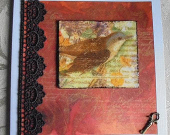 Bird card. Bird lover's card. Ornithologist's card. Red and black. Art tile card.