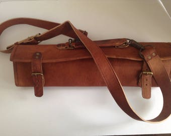 SPECIAL Knife Roll, all leather, rustic naturally tanned, chef roll