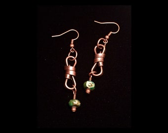Twisted metal and green stone beads