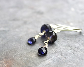 Silver Iolite Earrings Faceted Blue Gemstone Earrings, Sterling Silver Dangles