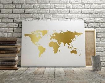 Gold world map etsy world map wall artworld map posterworld map printgold map gumiabroncs Choice Image
