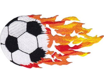 Soccer Ball with Flames Embroidered Patch / Iron-On Applique