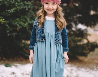 Bohemian Babies Solid Dresses//10 Colors Avaialable//Short Sleeve Knit Dress/Twirl Dress//Solid Dress//Sizes 2T to 12//Made to order