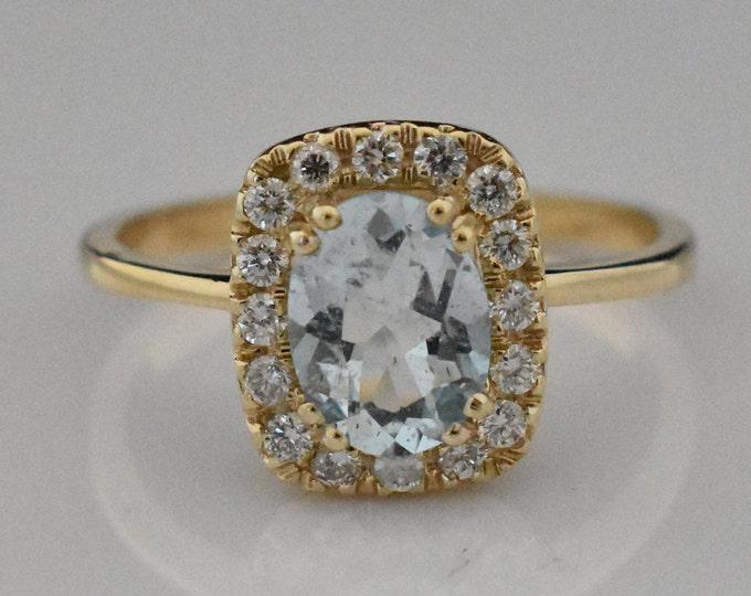 14K Gold Aquamarine Ring | Wedding Ring | Engagement Ring | Anniversary Ring | Diamond Halo | Handmade Fine Jewelry | Statement Ring