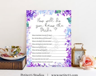 How well do you know the bride, Wedding bridal shower game, purple lavender, blue lilac hydrangea, instant download, printable