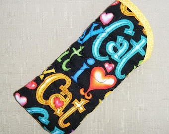 Quilted Sunglass/eyeglass case- I love my cat