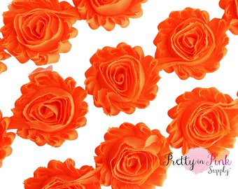 ORANGE Shabby Rose Trim - Shabby Chiffon Rosettes - 1/2 Yard or 1 Yard - Shabby Flower Trim - Wholesale Shabby Flower - Chiffon Flower