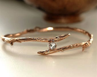 Twig bangle, rose gold twig bangle, twig branch handmade silver bangle, white topaz twig bangle, unusual twig jewellery, twig jewelry