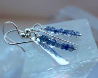 Iolite Earrings, Sterling Silver Earrings, Gemstone Earrings, Iolite Jewelry, Hammered Sterling, Gemstone Jewelry